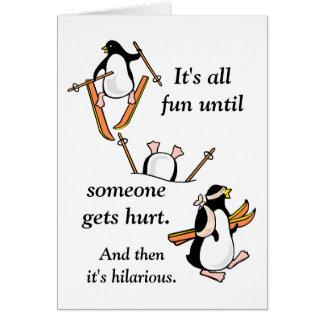 Cartão Aventura do esqui do pinguim