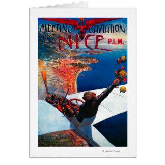 Cartão Aviação de D da reunião em agradável, poster de