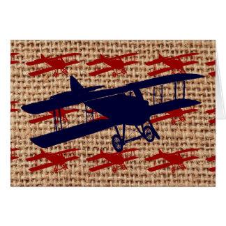 Cartão Avião da hélice do biplano do vintage no impressão