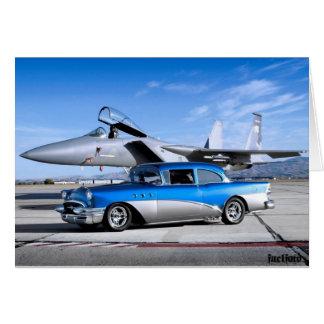 Cartão Avião de combate 1955 clássico especial do carro