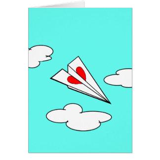 Cartão Avião de papel com coração