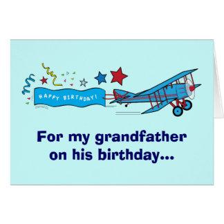 Cartão Avião do avô do feliz aniversario