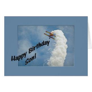 Cartão Avião do filho do feliz aniversario que voa