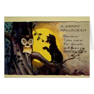 Cartão Aviso do Dia das Bruxas da coruja e do gato preto