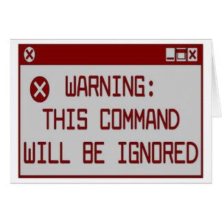 Cartão Aviso!  Este comando será ignorado
