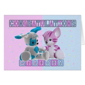 Cartão Avó aos parabéns dos gêmeos
