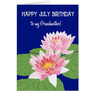 Cartão Avó cor-de-rosa bonito do aniversário de julho dos