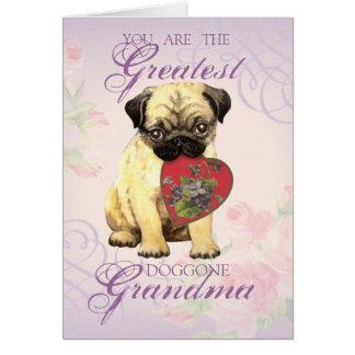 Cartão Avó do coração do Pug