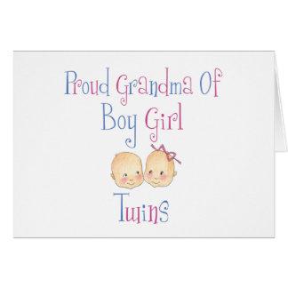 Cartão Avó orgulhosa de gêmeos da menina do menino