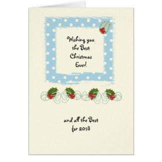 Cartão Azevinho azul das bolinhas do Natal pequeno