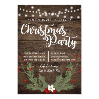 Cartão Azevinho de madeira do vermelho do Natal do país