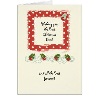 Cartão Azevinho vermelho das bolinhas do Natal