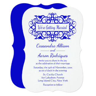 Cartão Azuis cobaltos & branco do vintage que Wedding