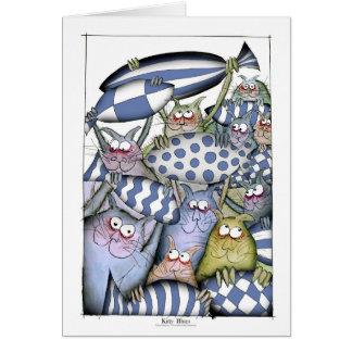 Cartão azuis do gatinho