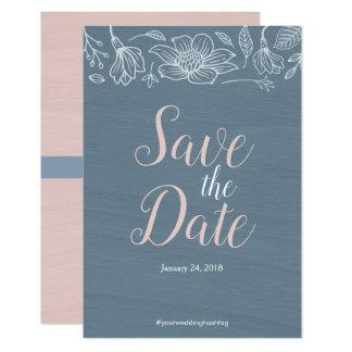 Cartão Azuis empoeirados & coram as flores que Wedding