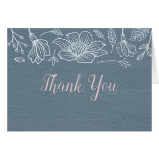Cartão Azuis empoeirados & coram as flores que Wedding o