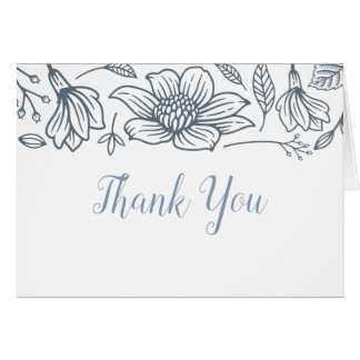 Cartão Azuis empoeirados & coram obrigado do casamento