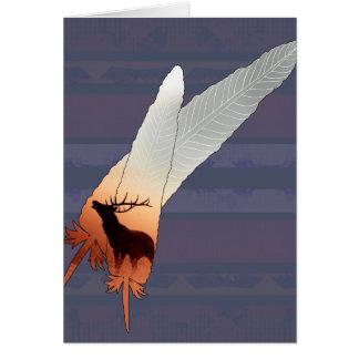 Cartão Azuis marinhos bonito da pena do nativo americano