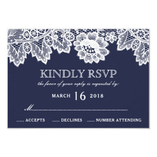 Cartão Azuis marinhos brancos RSVP Wedding rústico do