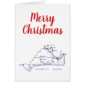 Cartão Azuis marinhos do mapa #1 do Martha's Vineyard do