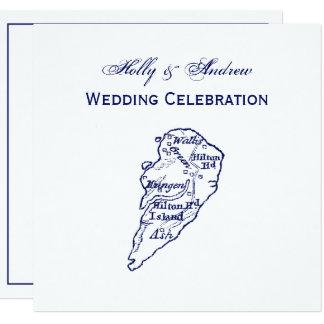 Cartão Azuis marinhos do mapa do vintage do SC de Hilton