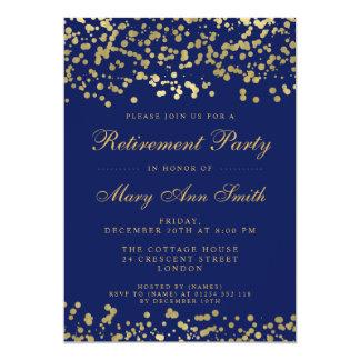 Cartão Azuis marinhos dos confetes da folha de ouro do
