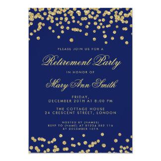 Cartão Azuis marinhos dos confetes do brilho do ouro do