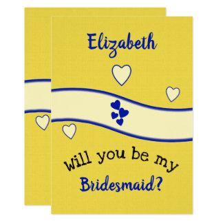Cartão Azuis marinhos e amarelo você será minha dama de