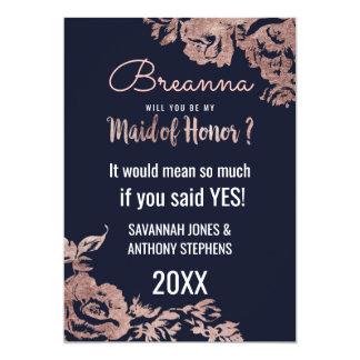 Cartão Azuis marinhos e madrinha de casamento floral do