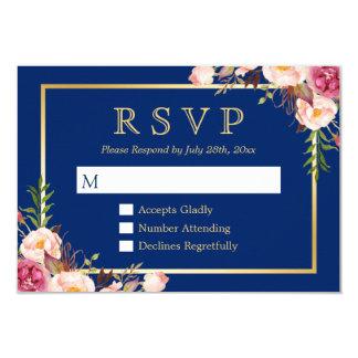 Cartão Azuis marinhos florais cor-de-rosa elegantes RSVP