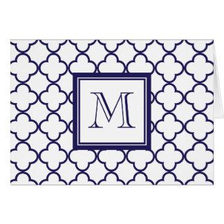 Cartão Azuis marinhos, Quatrefoil branco   seu monograma