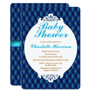 Cartão Azuis marinhos régios Pintucks & chá de fraldas do