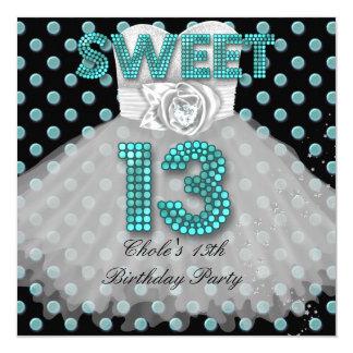 Cartão Azul adolescente da cerceta das meninas de festa