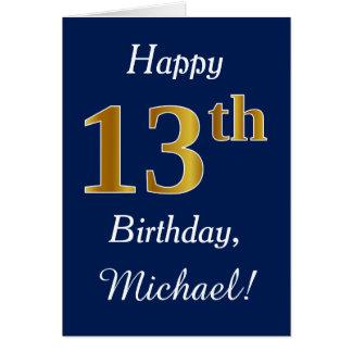 Cartão Azul, aniversário do ouro do falso 13o + Nome