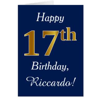 Cartão Azul, aniversário do ouro do falso 17o + Nome