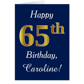 Cartão Azul, aniversário do ouro do falso 65th + Nome