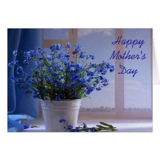 Cartão azul bonito do dia das mães do Wildflower