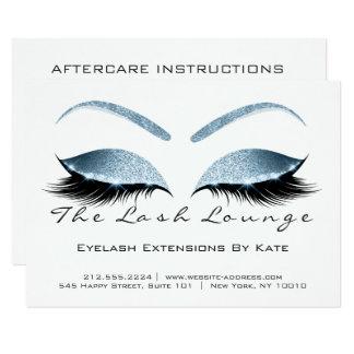 Cartão Azul branco da instrução dos cuidados posteriores