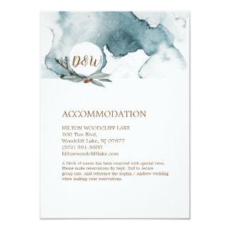 Cartão azul da acomodação do casamento do wonderla