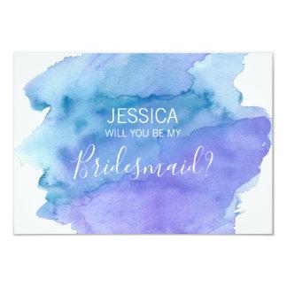 Cartão Azul da aguarela você será minha dama de honra?