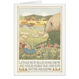 Cartão azul da coloração de Little Boy