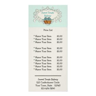 Cartão azul da cremalheira dos cupcakes do quadro  modelo de panfleto informativo