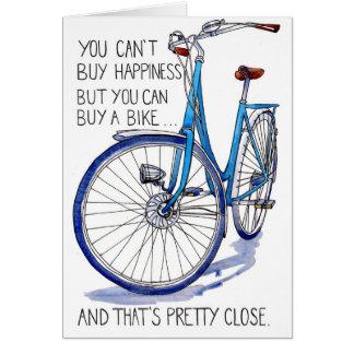 Cartão azul da felicidade da bicicleta