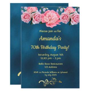 Cartão azul da festa de aniversário do 70 com flores