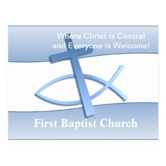 Cartão azul da igreja da simplicidade cartão postal