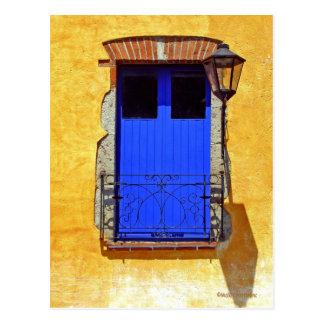 Cartão azul da janela