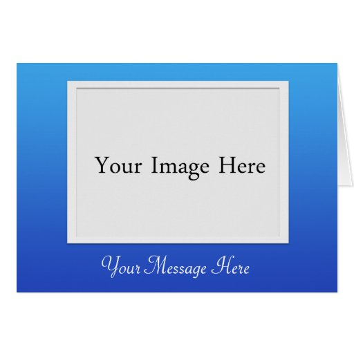 Cartão azul da moldura para retrato da foto de DIY