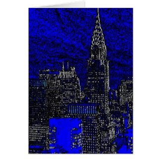 Cartão azul da Nova Iorque do pop art