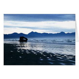 Cartão azul da praia do Shipwreck