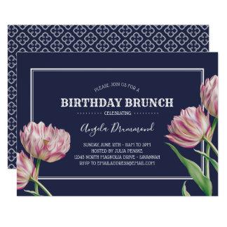 Cartão Azul da refeição matinal do aniversário da flor da